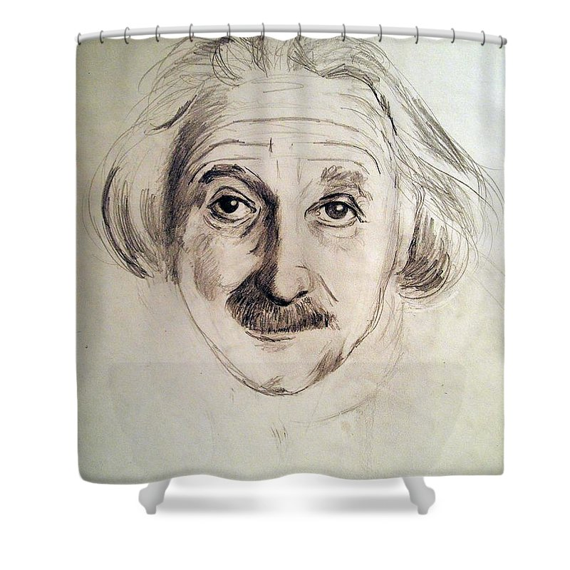 Pencil Portrait Shower Curtain featuring the drawing Einstein by Nancy Kane Chapman