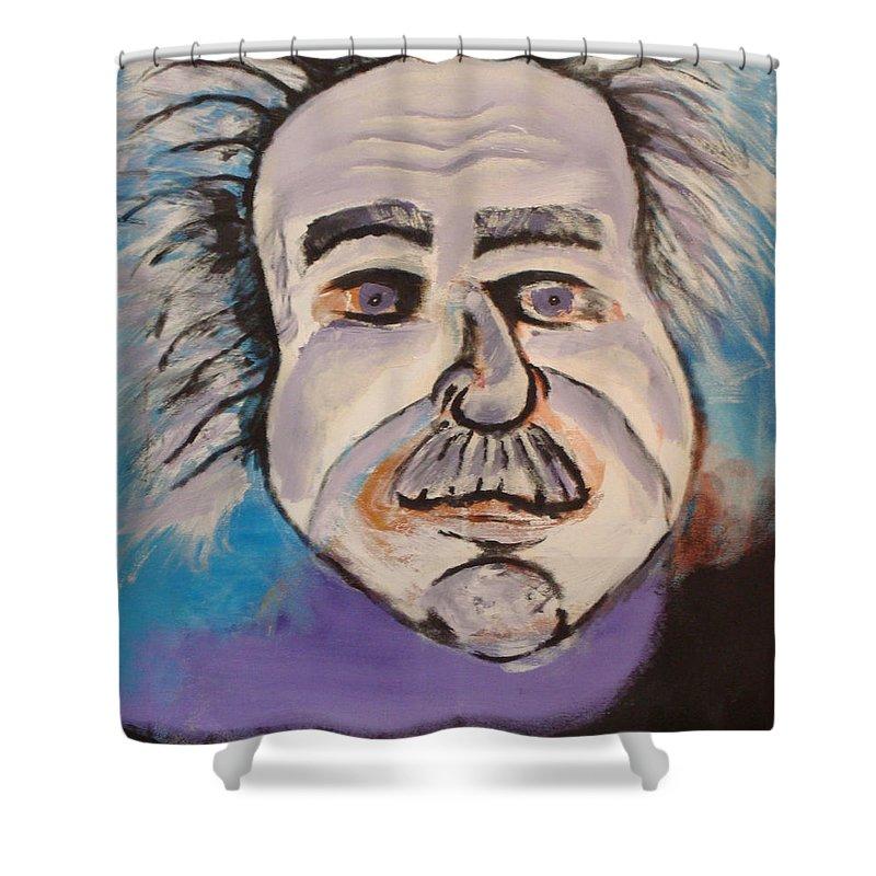 Rick Huotari Shower Curtain featuring the painting Einstein by Rick Huotari