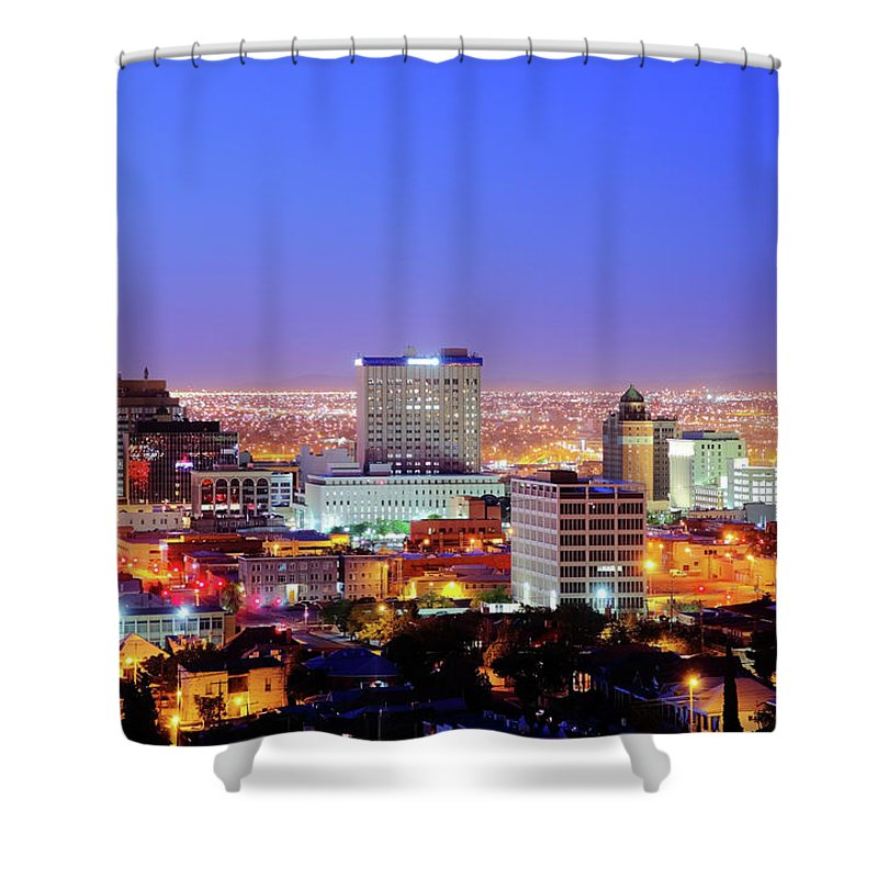 Downtown District Shower Curtain featuring the photograph El Paso by Denistangneyjr