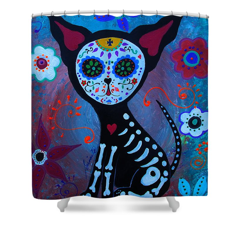 El Perrito Shower Curtain Featuring The Painting Day Of Dead By Pristine Cartera