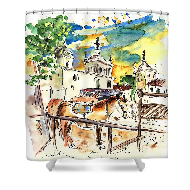 Travel Shower Curtain featuring the painting El Rocio 02 by Miki De Goodaboom
