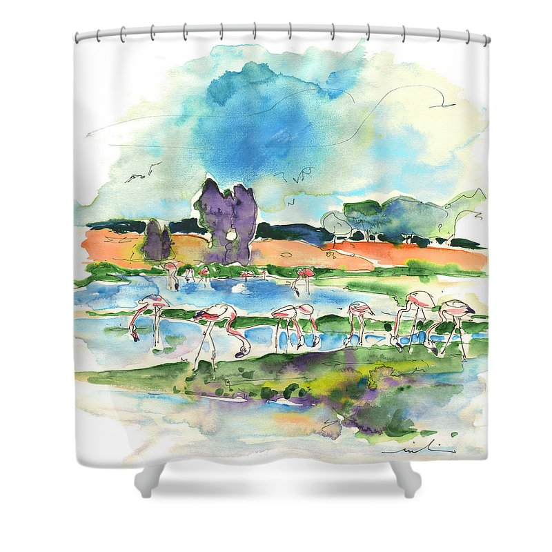 Travel Shower Curtain featuring the painting El Rocio 08 by Miki De Goodaboom