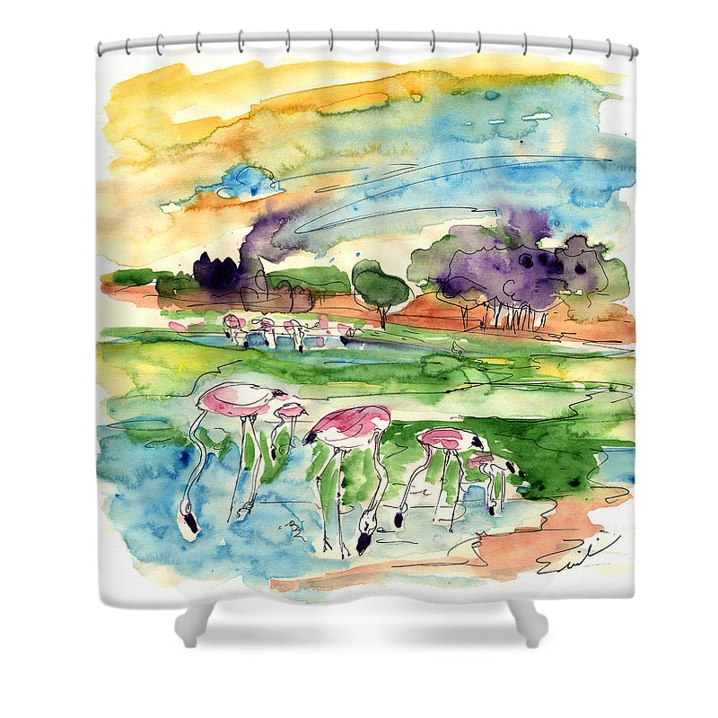 Travel Shower Curtain featuring the painting El Rocio 09 by Miki De Goodaboom