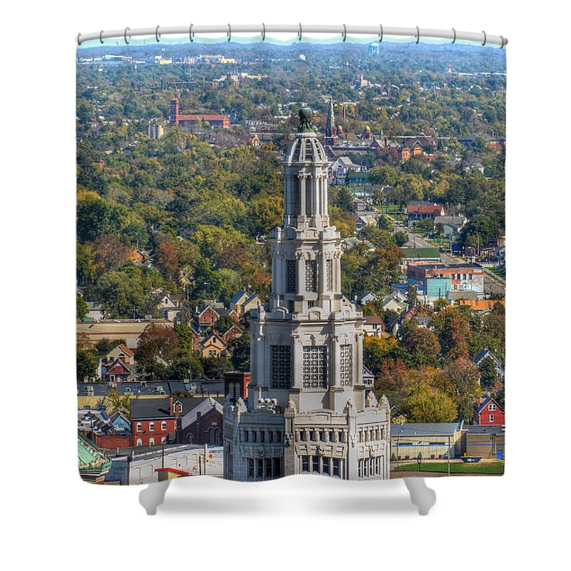 Electric Building Shower Curtain featuring the photograph Electric Building by Michael Frank Jr