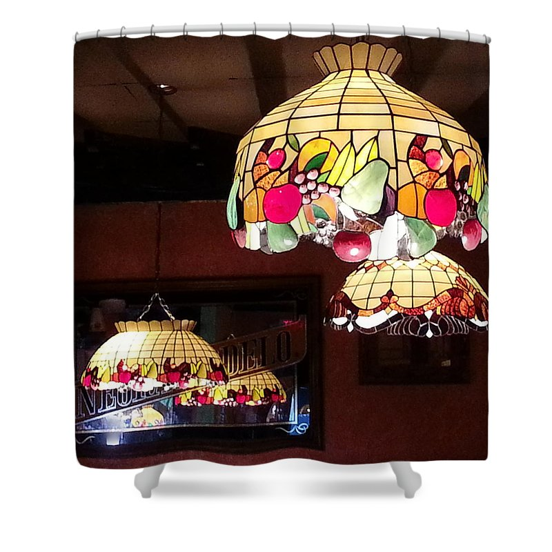 Lamp Shower Curtain featuring the photograph Electric Butterflies by Brenda Stevens Fanning