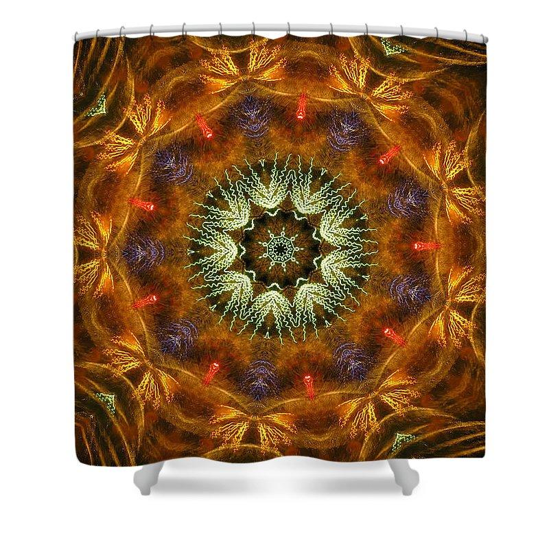 Mandala Shower Curtain featuring the digital art Electric Mandala 1 by Rhonda Barrett