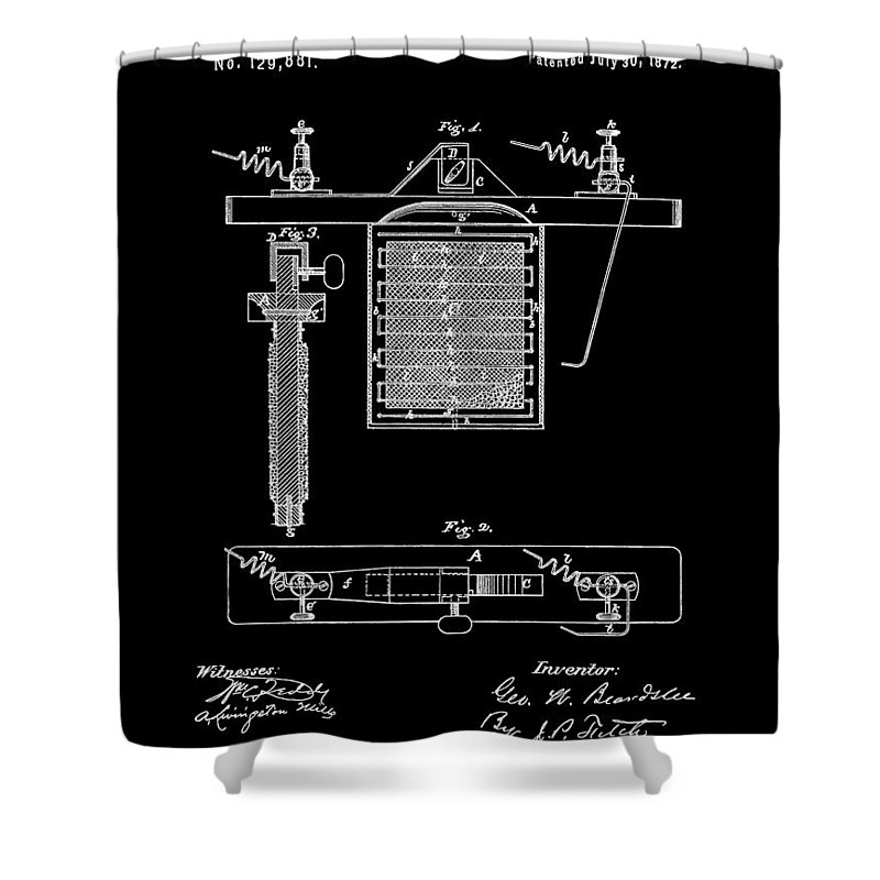 Electroplating Procedure Patent Shower Curtain featuring the mixed media Electroplating With Nickel by Dan Sproul