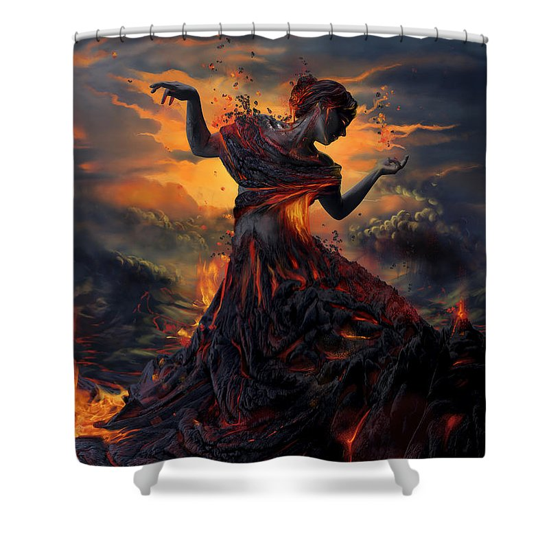 Fire Shower Curtain featuring the digital art Elements - Fire by Cassiopeia Art