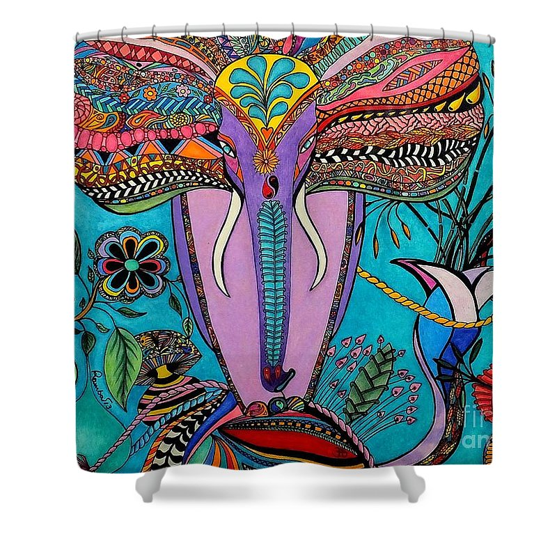 Elephant Shower Curtain featuring the painting Elephant by Rebeca Rambal