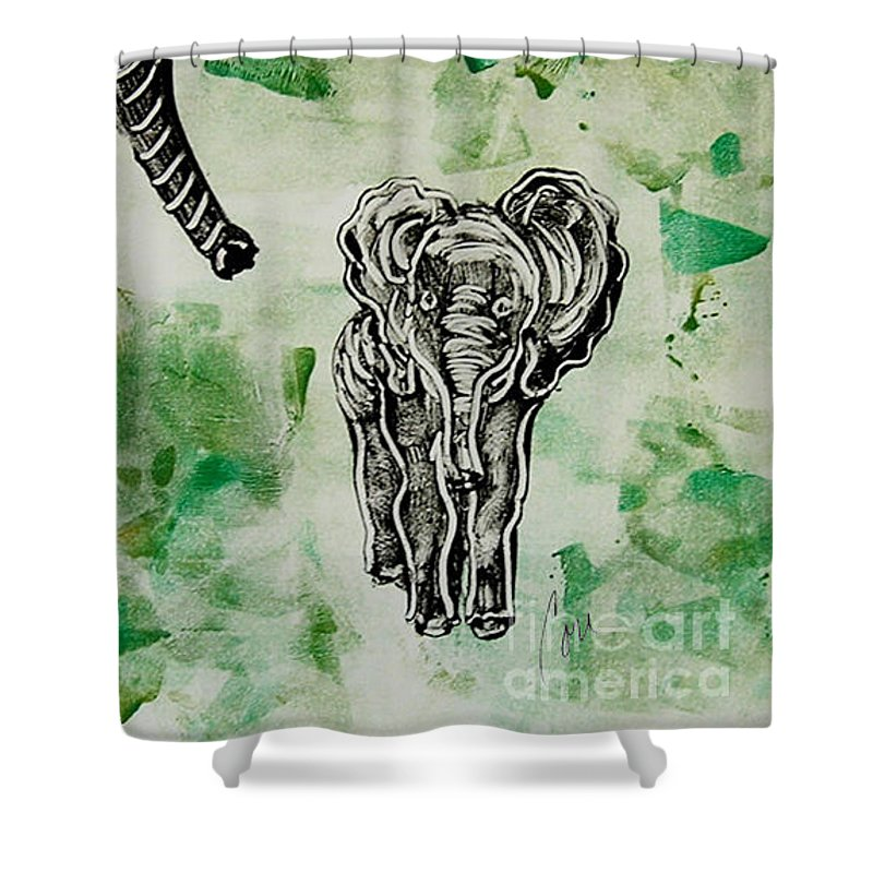 Elephant Shower Curtain featuring the mixed media Elephant Walk by Cori Solomon