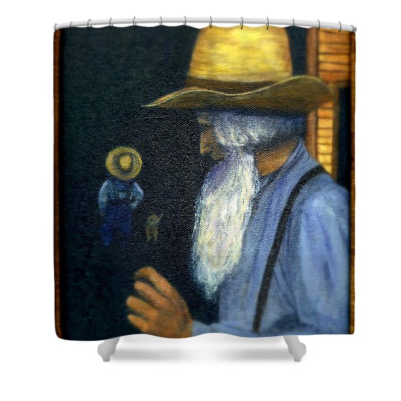 Men Shower Curtain featuring the painting Eli Remembers by Gail Kirtz