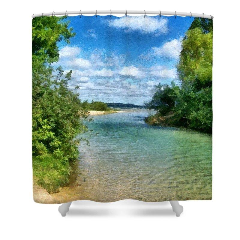Elk Rapids Shower Curtain featuring the photograph Elk River- Elk Rapids Michigan by Michelle Calkins