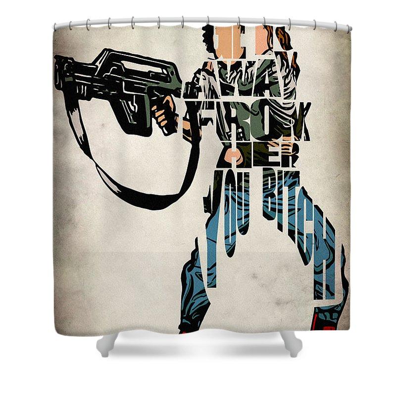 Sigourney Weaver Shower Curtain Featuring The Digital Art Ellen Ripley From Alien By Inspirowl Design