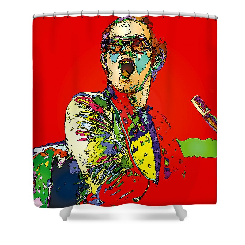 Elton John Shower Curtain featuring the painting Elton in Red by John Farr
