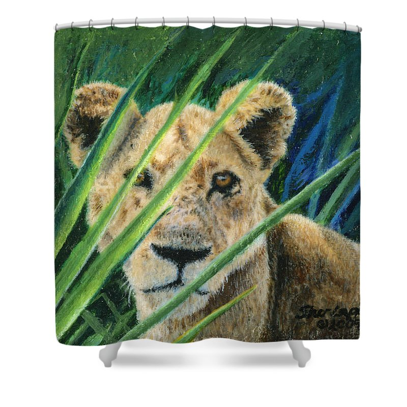Lion Shower Curtain featuring the painting Elusive by Sherryl Lapping