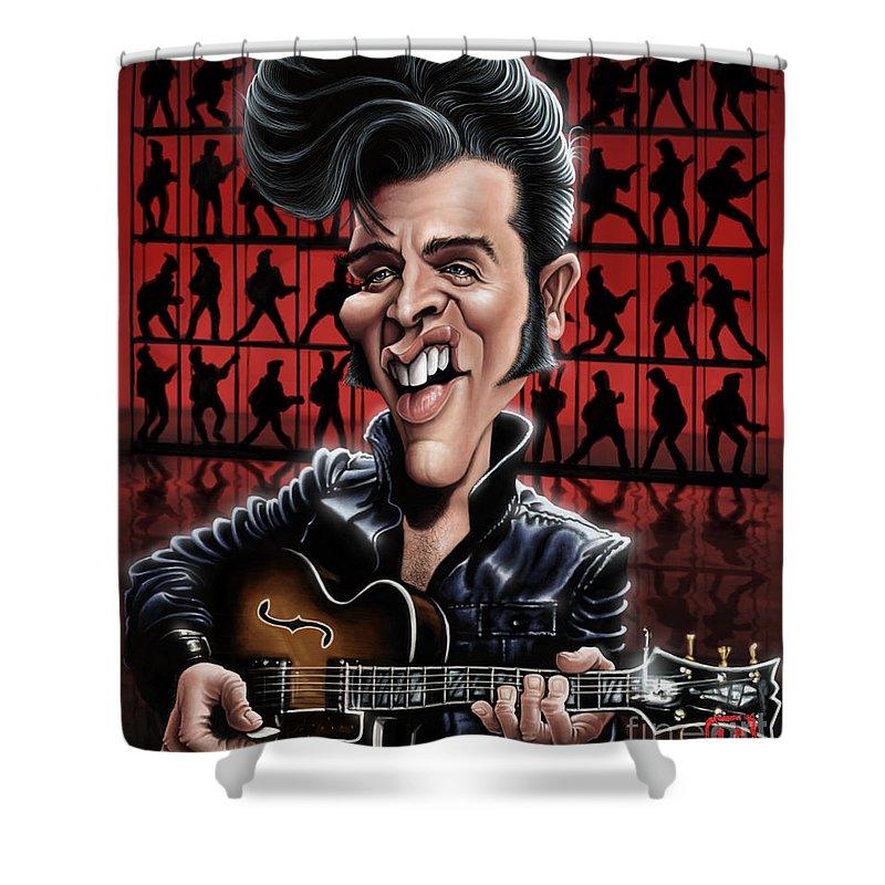 Elvis Presley Shower Curtain featuring the digital art Elvis In Memphis by Andre Koekemoer