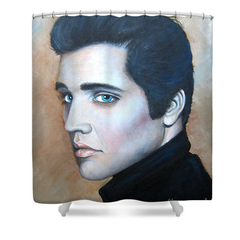 Elvis Shower Curtain featuring the painting Elvis by Patrice Torrillo
