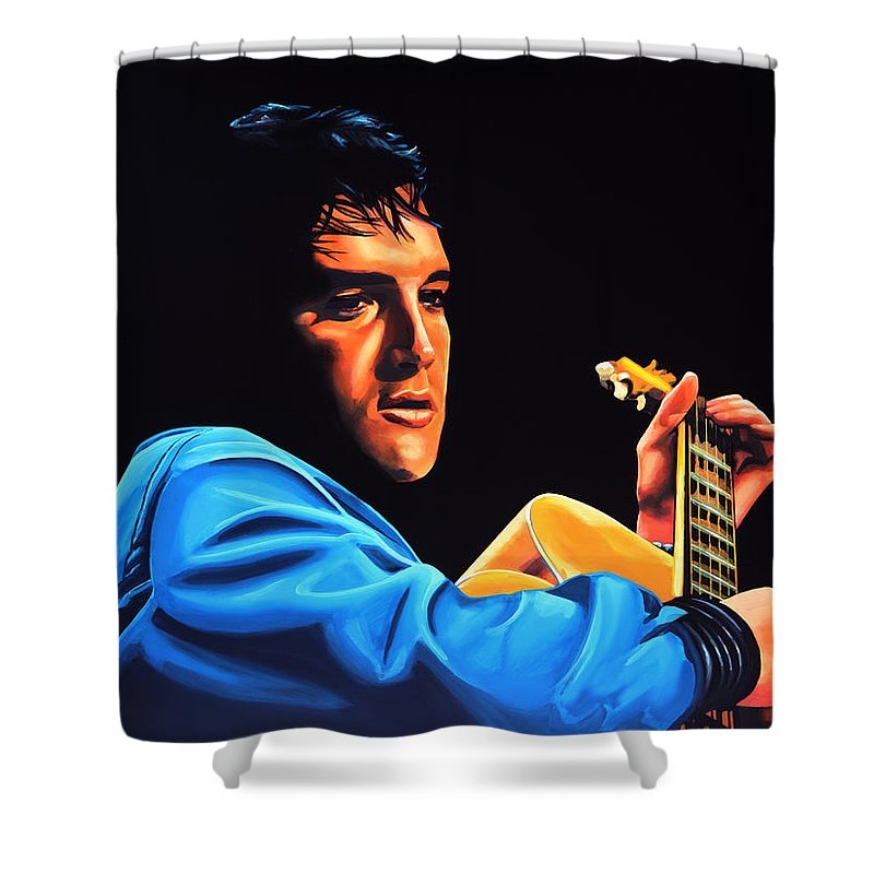 Elvis Shower Curtain featuring the painting Elvis Presley 2 Painting by Paul Meijering