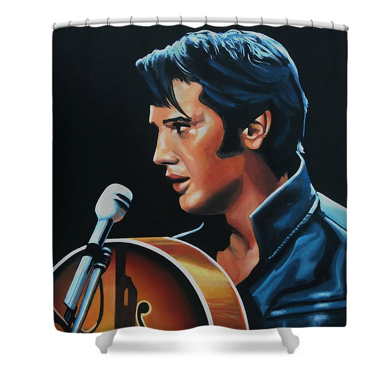 Elvis Shower Curtain featuring the painting Elvis Presley 3 Painting by Paul Meijering