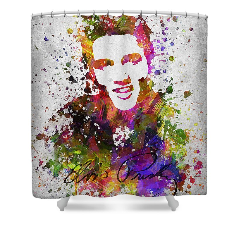 Elvis Presley Shower Curtain featuring the digital art Elvis Presley in Color by Aged Pixel