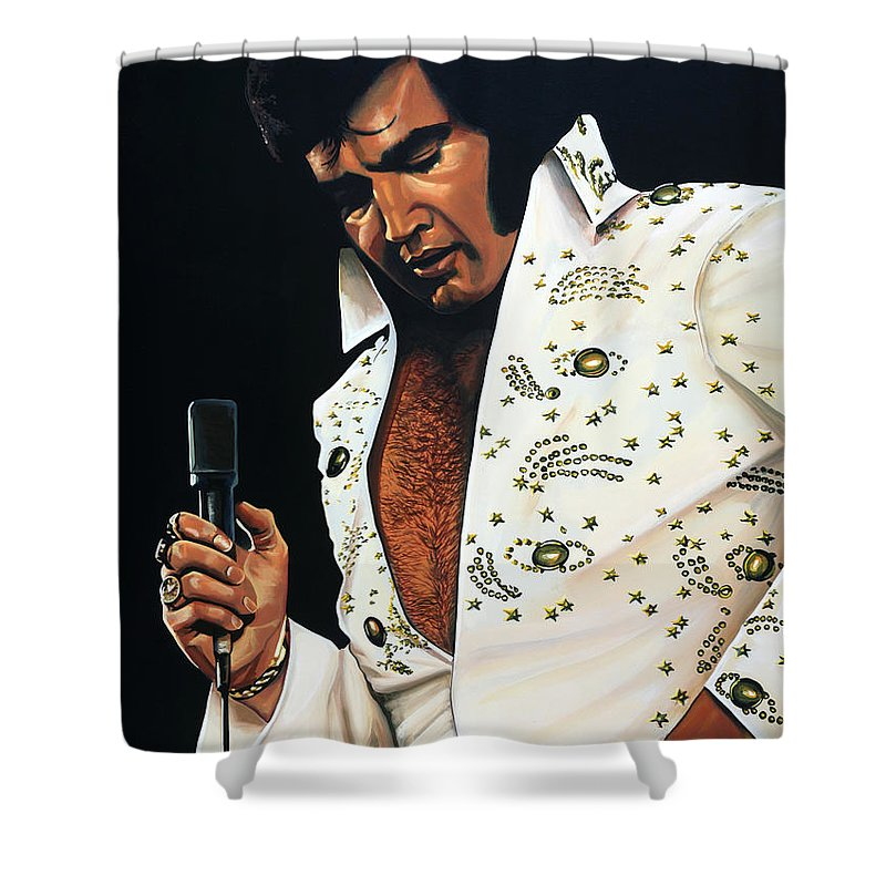 Elvis Shower Curtain featuring the painting Elvis Presley Painting by Paul Meijering