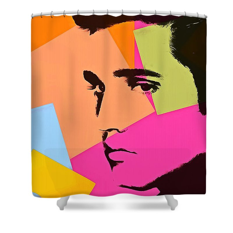Elvis Presley Pop Art Shower Curtain featuring the digital art Elvis Presley Pop Art by Dan Sproul