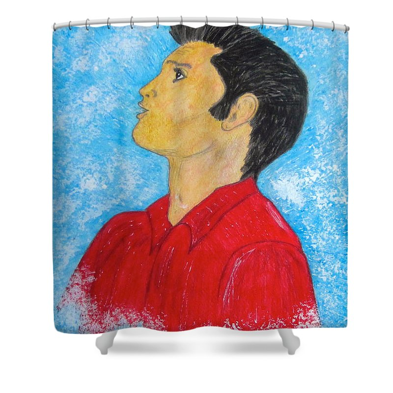 Elvis Presely Shower Curtain featuring the painting Elvis Presley Singing by Kathy Marrs Chandler