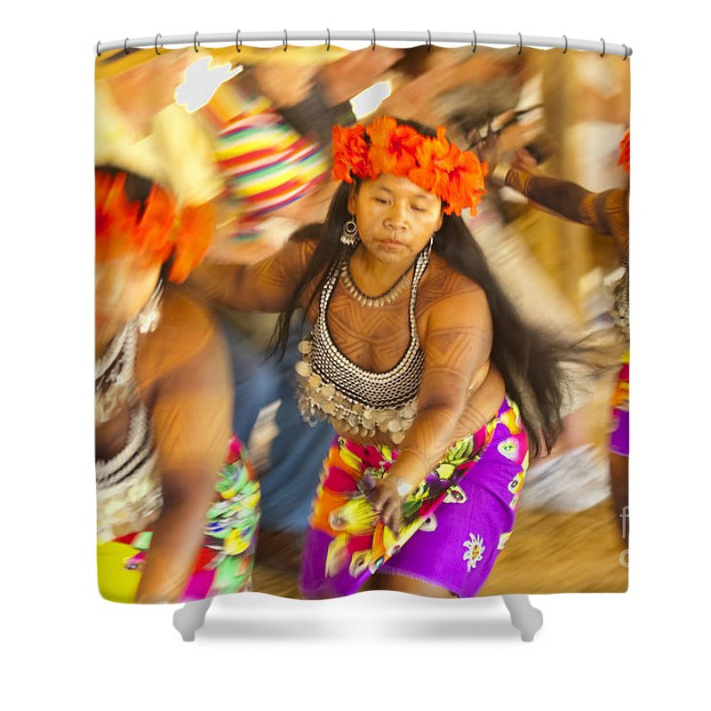 Embera Shower Curtain featuring the photograph Embera Villagers In Panama by David Smith
