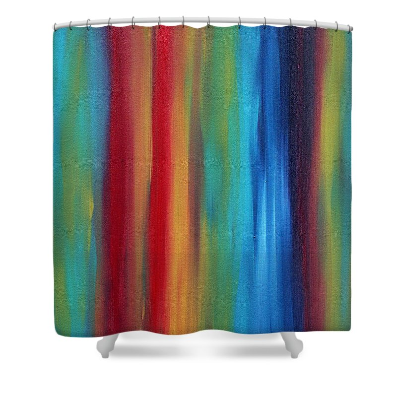 Colorful Shower Curtain featuring the painting Emboldened By Madart by Megan Duncanson