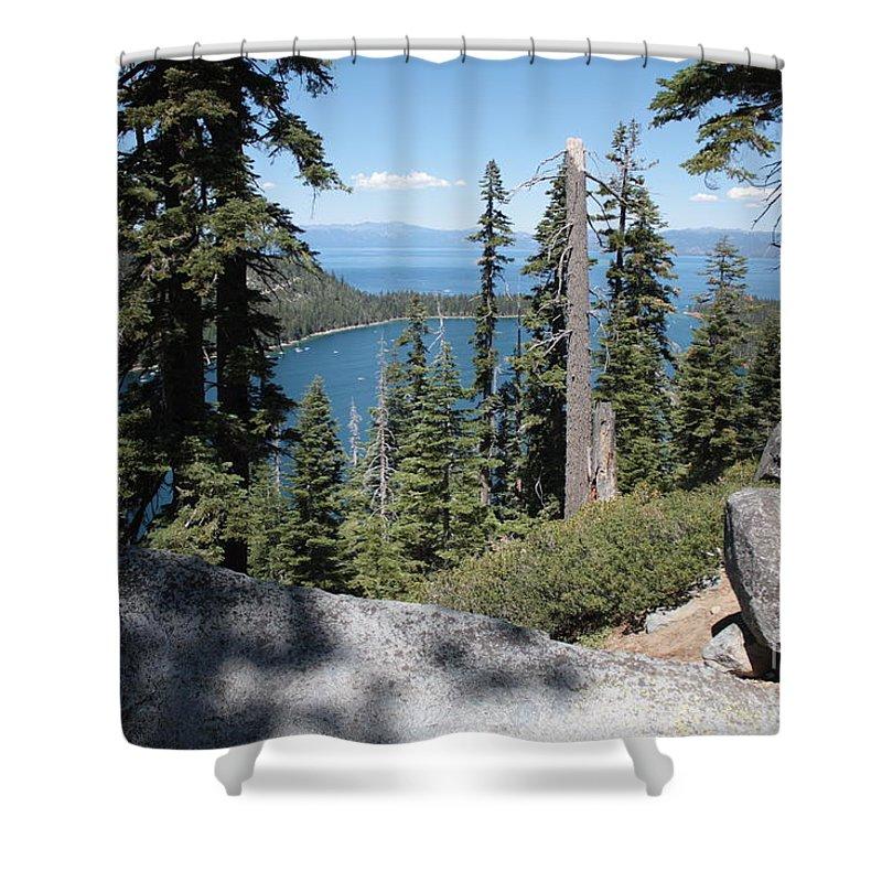 Emerald Bay Shower Curtain featuring the photograph Emerald Bay Vista by Carol Groenen