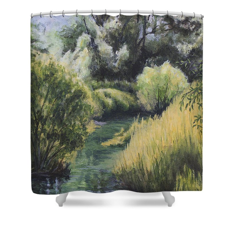 Emerald Shower Curtain featuring the painting Emerald Creek by Michael Beckett