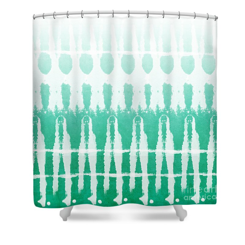 Abstract Shower Curtain featuring the painting Emerald Ombre by Linda Woods