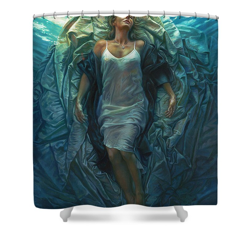 Conceptual Shower Curtain featuring the painting Emerge Painting by Mia Tavonatti