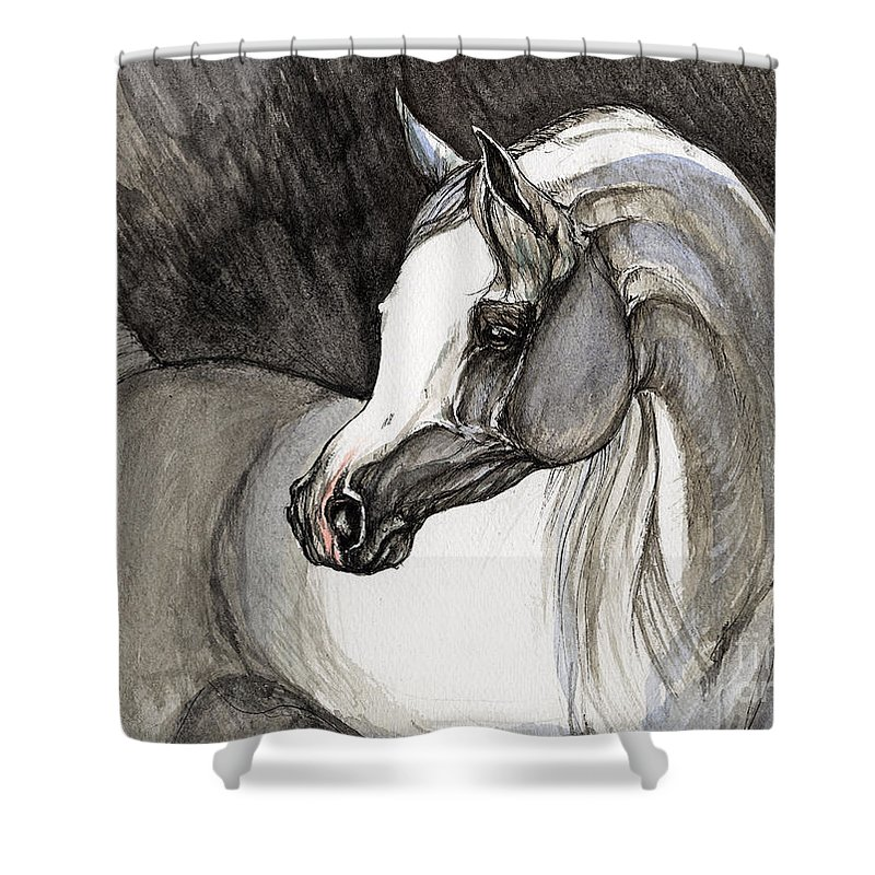 Grey Horse Shower Curtain featuring the painting Emerging From The Darkness by Angel Ciesniarska