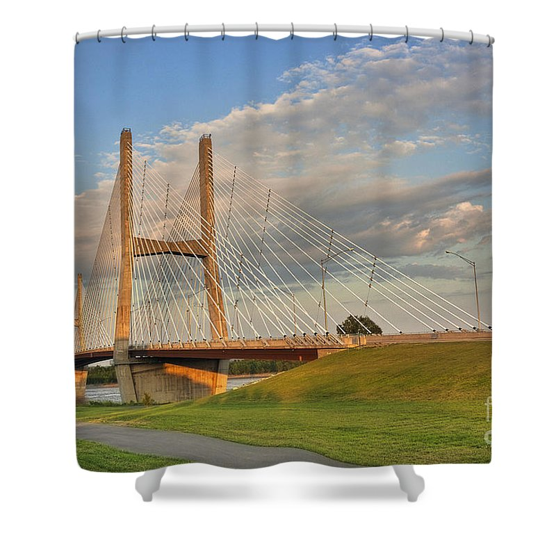 2009 Shower Curtain featuring the photograph Emerson Bridge by Larry Braun