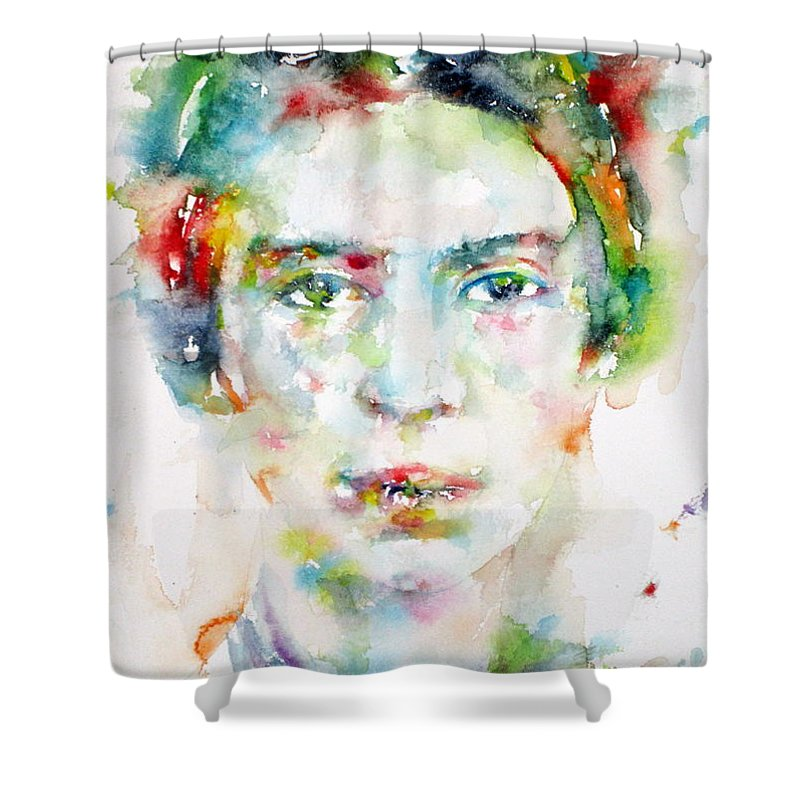 Emily Dickinson Shower Curtain featuring the painting Emily Dickinson - Watercolor Portrait by Fabrizio Cassetta