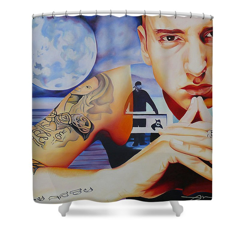 Emminem Shower Curtain featuring the painting Emminem by Joshua Morton