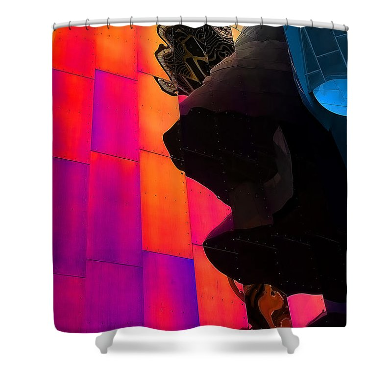 Emp Shower Curtain featuring the photograph Emp And The Space Needle by David Patterson