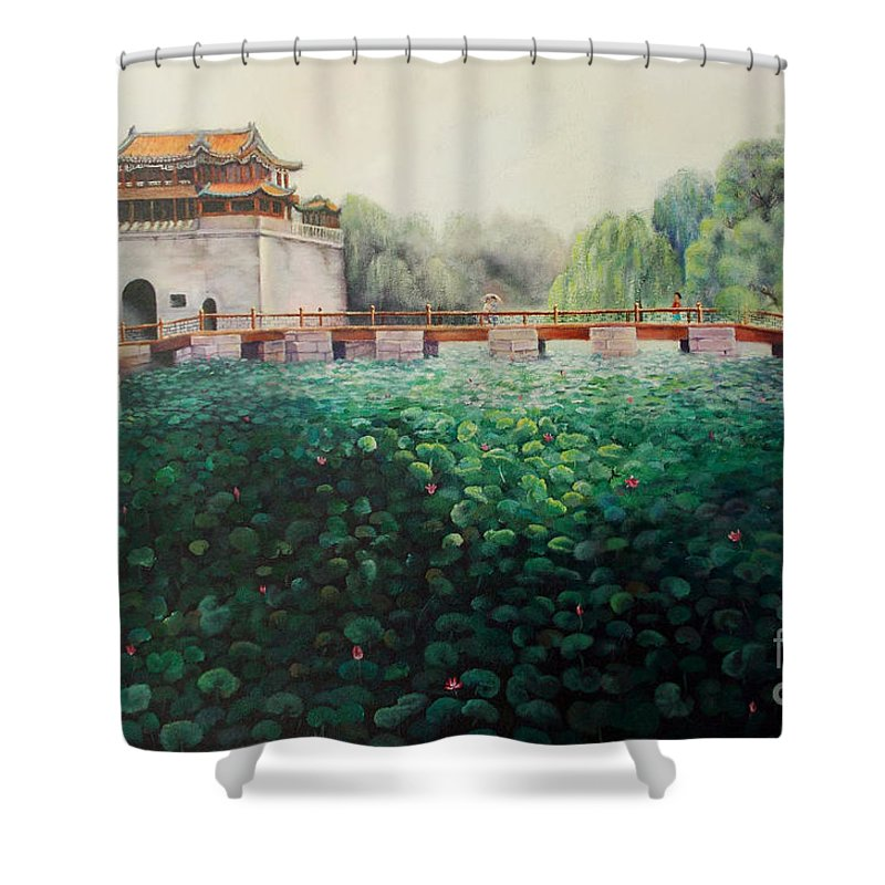 Landscape Shower Curtain featuring the painting Emperor's Summer Palace by Marlene Book