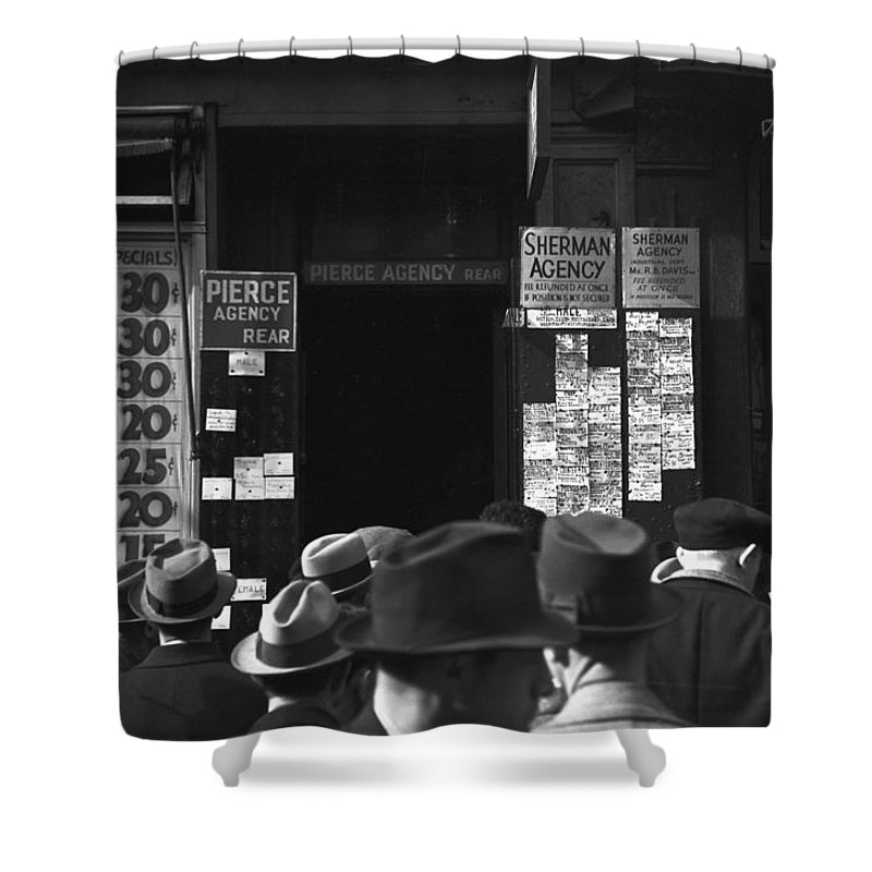 1937 Shower Curtain featuring the photograph Employment Agency, 1937 by Granger