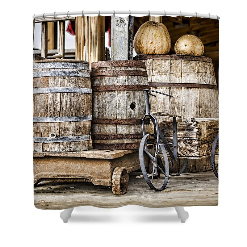 Barrel Shower Curtain featuring the photograph Emptied Barrels by Heather Applegate