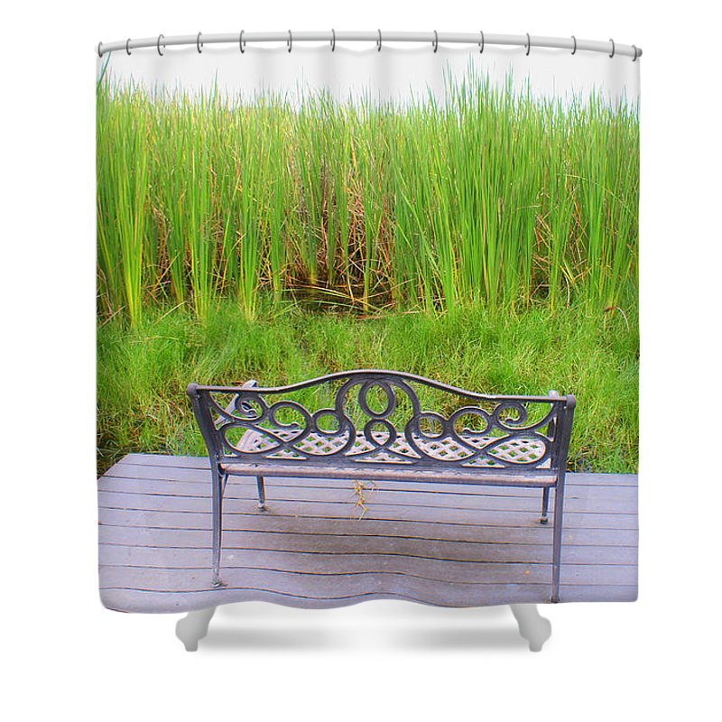 Bench Shower Curtain featuring the photograph Empty Bench by Robert Edgar