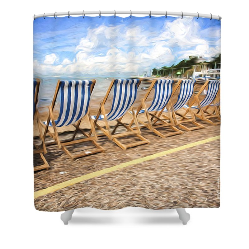 Deckchairs Shower Curtain featuring the photograph Empty deckchairs at Southend on Sea by Sheila Smart Fine Art Photography
