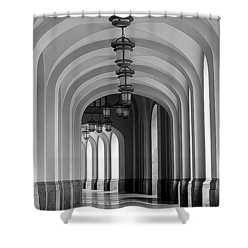 Arch Shower Curtain featuring the photograph Empty Road by Getty Contibu