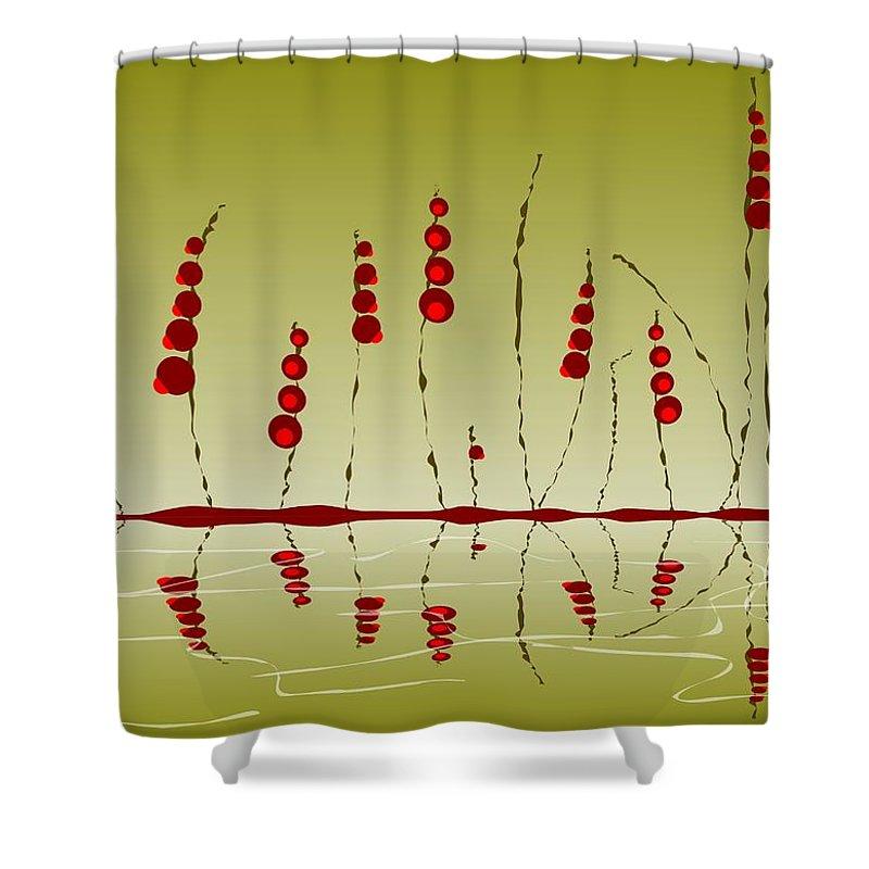 Malakhova Shower Curtain featuring the digital art Enchanted Berries by Anastasiya Malakhova