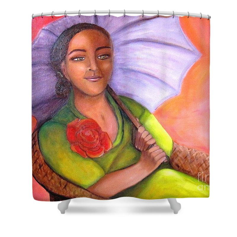 Rose Shower Curtain featuring the painting Enchanted Rose by Laurie Morgan