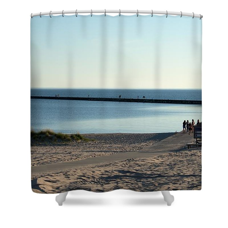 Michigan Shower Curtain featuring the photograph End Of The Pier by Linda Kerkau