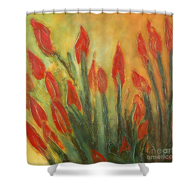 Flower Shower Curtain featuring the painting Endangered Species by Tonya Henderson