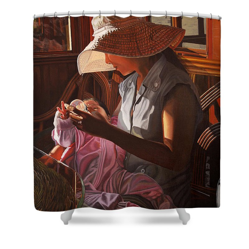 Children Paintings Shower Curtain featuring the painting Enfamil At Ha Long Bay Vietnam by Thu Nguyen