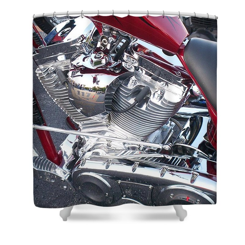 Motorcycles Shower Curtain featuring the photograph Engine Close-up 4 by Anita Burgermeister